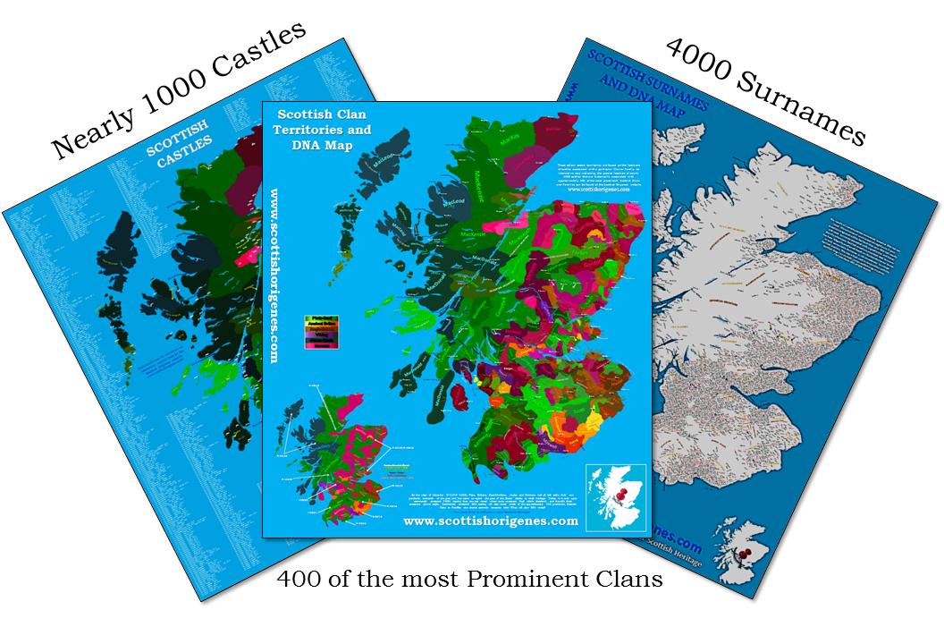 The Scottish Surnames, Clans and Castles Maps are finally HERE ... on