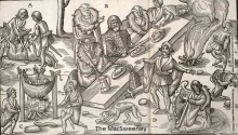 The MacSweeney feasting outdoors after the hunt as published in 'The Image of Irelande,' by John Derrick in 1581.