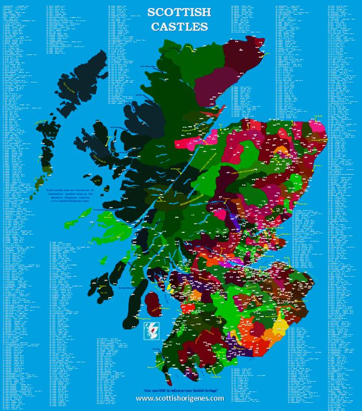 Scottish Castles map   Scottish Origenes: scottish ancestry ... on